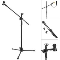 Professional Swing Boom Floor Metal Stand Microphone Holder Microphone Stand Adjustable Stage Tripod with Pop Filter for Option