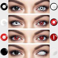 UYAAI 2pcs Halloween Colorful Contact Lenses Anime Cosplay Eye Lenses multicolored lenses Lenses White Black Red Lenses