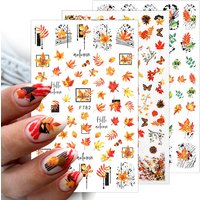 1pcs Maple Leaves Nail Stickers 3D Orange Yellow Gold Fall DIY Sliders Nail Art Decoration Autumn Adhesive Manicuring Decals
