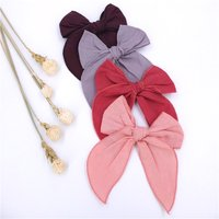Fable Bow Hair Clips Baby Girls Women Linen Hemmed Hair Bow Clips Cotton Large Tails Hair Bows Accessories Hairgrips