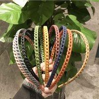 2021 Korean Style Simple Matte Solid Color Head Hoop Chain Hair Accessories Girls Women Hollow Turban Headwear Hairband