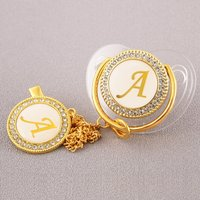 26 Initial Letter Transparent Baby Pacifier with Chain Clip Newborn BPA Free Luxury Bling Dummy Soother Chupeta 0-12 Months