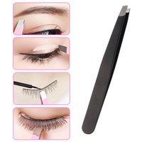 1PC Black/Pink Eyebrow Tweezer Hair Beauty Slanted Puller Stainless Steel Eye Brow Clips Hair Removal Makeup Tools Accessories