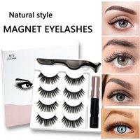 4 Pairs Magnetic Eyelashes Set Waterproof Magnet Liquid Eyeliner Eyelash Make Up Tweezers Fake Lashes for Makeup Kit