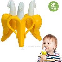 Silicone Baby Teether Toys BPA Free Safe Banana Teething Ring Toddler Chew Dental Care Toothbrush Nursing Beads Gift For Kids