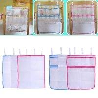 Multifunction Baby Crib Nappy Organizer Mesh Bed Hanging Storage Bag Newborn Toys Diaper Clothes Hanging Organizer Storage Pouch