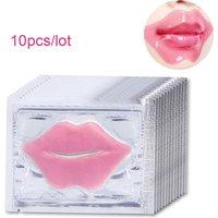 10Pcs Beauty Super Lip Plumper Pink Crystal Collagen Lip Mask Patches Moisture Essence Wrinkle Ance korean Cosmetics Skin Care