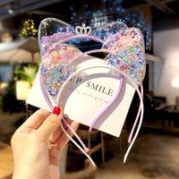 1Pcs Cute Cat Ears Headband Baby Girls Hairband Kids Girls Shining Crown Princess Korean Headband Sweet Hair Ornament Headband