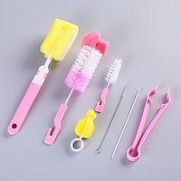 4/7Pcs Baby Nipple Milk Bottle Brushes Sponge Plastic Cleaning Set 360 Degree Sponge Cleaner + Pacifier Brush