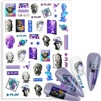 2021 New 3D Plaster Statue Sticker For Nails Abstract Lady Face Mix Pattern Nail Art Decoration Manicure Self Adhesive DIY Decal