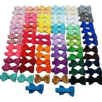 40pc/lot Mini Bow Tie Hair Clip Small Sweet Solid Ribbow Bow Safety Ribbon Covered Clip Kids Hairpins Accessories Gift