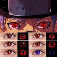 UYAAI 2Pcs/Pair Color contact lenses Sharingan contact lenses Anime lenses Cosplay anime accessories White Lens Halloween
