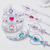 Halloween Girl Headdress Princess Crown Magic Fairy Wand for Kids Girl Cosplay Snow Ice Queen Princess Hair Combs Accessories