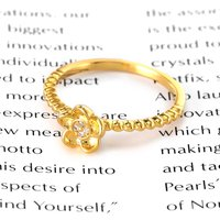 Hot Sale Fashion Golden Ring Woman Flower Shiny Diamond Jewelry Summer Elegant Retro Metal Accessories Mother's Day Gifts