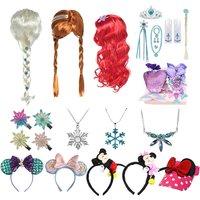 Mickey Minnie Hair Bands Anna Elsa 2 Wig Princess Girls Party Fancy Accessories Princess Braid Headwear Hair Clips Kids Jewelry
