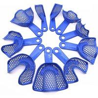 10pcs /set Blue Dental Impressions Trays Plastic-Steel Teeth Holders Denture Model Materials Oral Hygiene Clinic Dentist Product