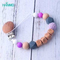Handmade Free Personalized Name Silicone Wood Pacifier Clips Safe Teething Chain Baby Teether Eco-friendly Dummy Clips Holder