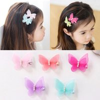 5 Pcs/lot Bow Butterfly Hair Clips Girls' Hair Grips Kids Hairpin Headwear Fashion Accessories Candy Color without hurting hair
