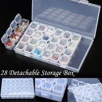 9/28 Slots Choose Jewelry Beads Pills Nail Art Tips Storage Box Case Hard Transparent Plastic Jewelry Tool Box Nail Art Tool