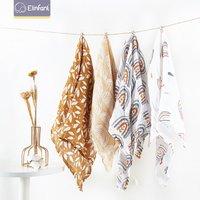 Elinfant Wholesale Dropshipping 4pcs set 60*60cm 100% cotton 2 Layers Newborn Baby Bibs Wrap Muslin Swaddle Blankets