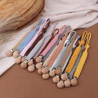 1pc BPA Free Crochet Baby Pacifier Clips Chain Vintage Cotton Rope Pacifier Chain DIY Handmade Nipple Clip Newborn Dummy Chain