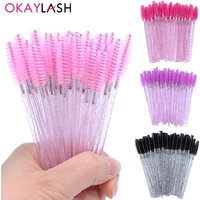 OKAYLASH 50PCS Crystal Eyelash Mascara Wands Pink Mint Micro Eyelashes Applicators Luxury Lash Spoolies