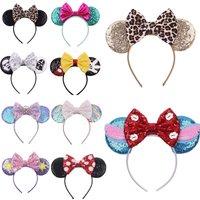 Disney 1pcs Mickey Ears Leopard Bow baby Hair Accessories Mickey Headband Children Headband Headdress Ggirl Gift Head Decoration