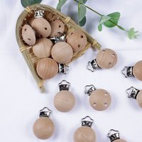 20Pcs/Lot Wooden Pacifier Clip Beech Pacifier Clips Chewable Teething Diy Dummy Clip Chains Baby Teether Nursing Accessories