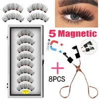LEKOFO 8PCS 5 Magnets 3D Magnetic False Eyelashes Handmade Artificial Faux Cils Magnetic Natural Mink Eyelashes with Tweezers