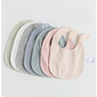 Multiple Colours Ribbed and Terry Fabric Baby Bibs Infant Saliva Towel Newborn Baby Bibs with Adjustable Snaps