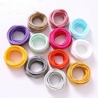 10pcs/lot Soft Nylon Headbands Elastic Skinny Headband For Kids Solid Hairband Customized Hair Accessories