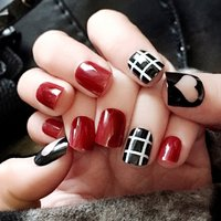 24pcs/set Artificial French Multiple Colors False Nails Tips Lattice Grid Design Fake Nails Press on Nails with Glue Sticker