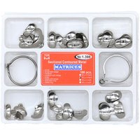1 Box Dental Matrix No.1.398 Sectional Contoured Metal Matrices with 2 Rings Full kit for Teeth Replacement Dentsit Tool