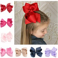 Yundfly 1PCS 6 Inch Big Ribbon Bow Hairpin Baby Girls Bow Clips Kid Hair Clip Boutique Hair Accessories(Color:20 Colors)