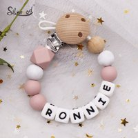 Personalized Name Baby Pacifier Clip Chain Dummy Holder BPA Free Silicone Beads Eco-friendly Teething Chain Nipples Clips Holder