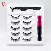 5 Pairs/Set Magnetic Eyelashes False Lashes Repeated Use Eyelashes Waterproof Liquid Eyeliner With Tweezer Makeup Set