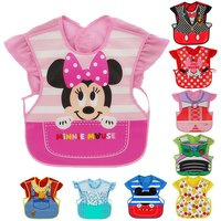 Disney Cute Baby Adjustable Bibs EVA Waterproof Sleeveless Lunch Feeding Bibs Baby Cartoon Feeding Cloth Children Baby Apron
