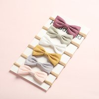 6Pcs/Lot Hair Bows Baby Girls Headband Nylon Headbands Linen Fabric Hairband For Kids Newborn Spring Hair Accessories Lovely