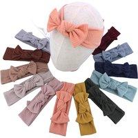 4 PCS Toddler Baby Headbands Cotton Ribbed Newborn Baby Girls Turban Headband Nylon Hairband Neutral Bow Hair Accessories