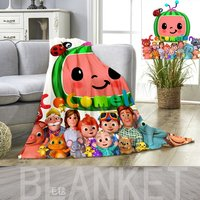 Cocomelon Kids Cartoon Blanket JJ 3D Printing Flannel Blankets Bed Sheet Nap Quilt Cover Beddings CoCo Melon Carpet Kids Gift