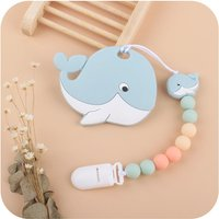 2Pcs/set Cartoon Whale Silicone Pacifier Chain and Soft Teethers Newborn Baby Nipple Holder Dummy Chain