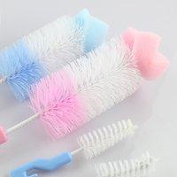 900C 2Pcs Baby Nipple Milk Bottle Cup 360 Degree Sponge Cleaner + Pacifier Brush
