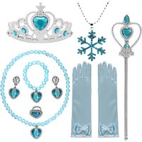 Pretty Elsa Accessories for Girls Necklace Earrings Gloves Wand Crown Jewelry Dress Up for Princess Casual Dresses Accessories