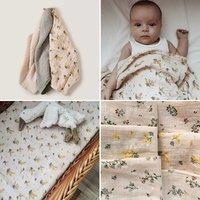 120*120cm G&F Baby Cotton Blankets Soft Flower Pattern Vintage Style Swaddle Wrap Feeding Burp Cloth Towel Scarf Baby Stuff