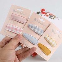 1 Pair Korean New Simple Plaid Fabric Children's BB Clip Barrette Girl Princess Fashion Colorful Hairpins Headwear