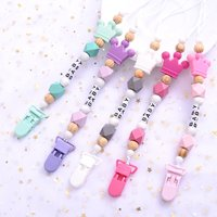 New 5 Colors Baby Teether Handmade Making Pacifier Clips Holder Chains Silicone Pacifier Chain Clip Baby Teething Chain
