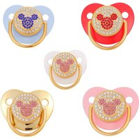 Cute Mouse Bling Bling Rhinestone Baby Pacifiers Food Grade Silicone Newborn Nipple Soothie