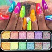 12 Grids Mermaid Nail Powder Shiny Pigment Dust Fine Holographic Glitter Sequins Set Chrome Powder Nail Decorations Manicure