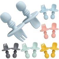 Food Grade Infant Mini Silicone Tableware Set Baby Soft Kitchen Accession Fork Spoon Kids Portable Soild Color TeaSpoon