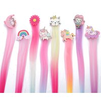 New Children's Bow Unicorn Sequins Dream Gradient Color Wig Top Clip Princess Female Toddler Kids Baby Hairpin